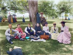 Picnic at Marshall Hall (Colorized): 1893