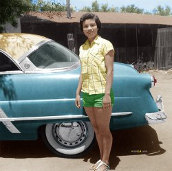 Pretty Girl and a 1953 Ford Victoria
