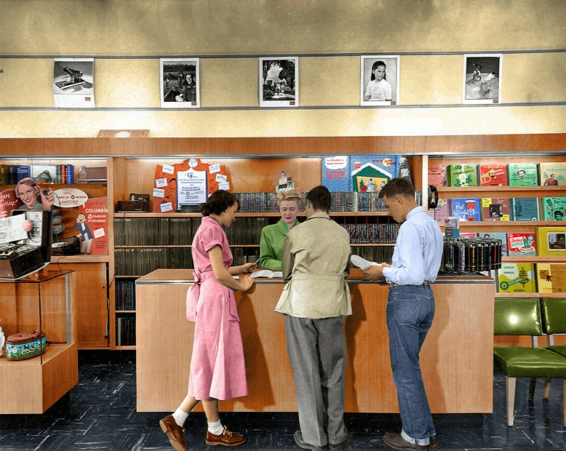 1950s Record Store (Colorized)