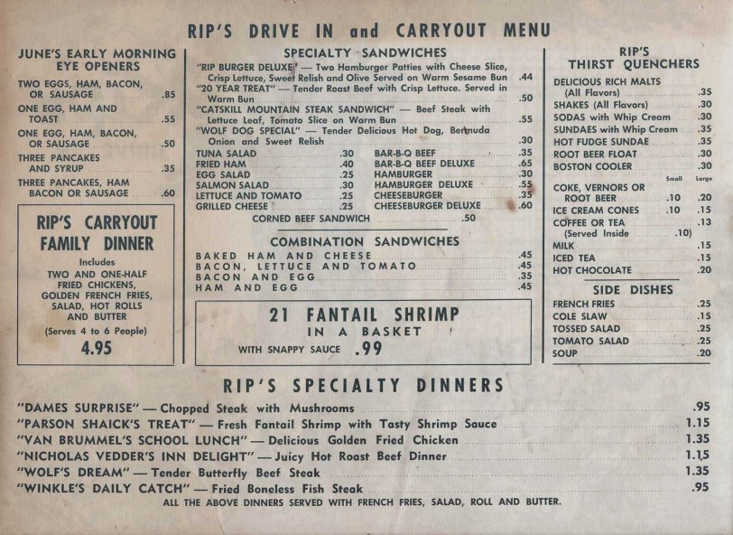 Rip's Drive-In 1956 Prices