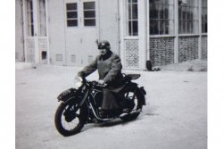 German Soldier on Motorcycle