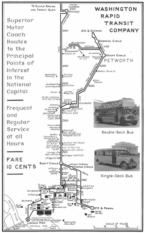Washington Rapid Transit Co. bus map